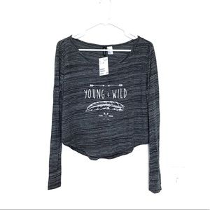 H&M Long Sleeve Crop Top Shirt Young&Wild Med NWT